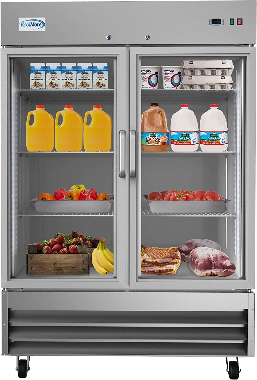 "KoolMore 54"" 2 Glass Door Commercial Reach-in Refrigerator Cooler with LED Lighting - 47 cu. ft 71Usfv-jPeL"