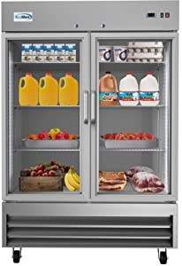 "KoolMore 54"" 2 Glass Door Commercial Reach-in Refrigerator Cooler with LED Lighting - 47 cu. ft"