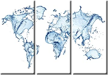 Amazon picture sensations framed huge 3 panel modern canvas art amazon picture sensations framed huge 3 panel modern canvas art water splash world map giclee canvas print posters prints gumiabroncs Images