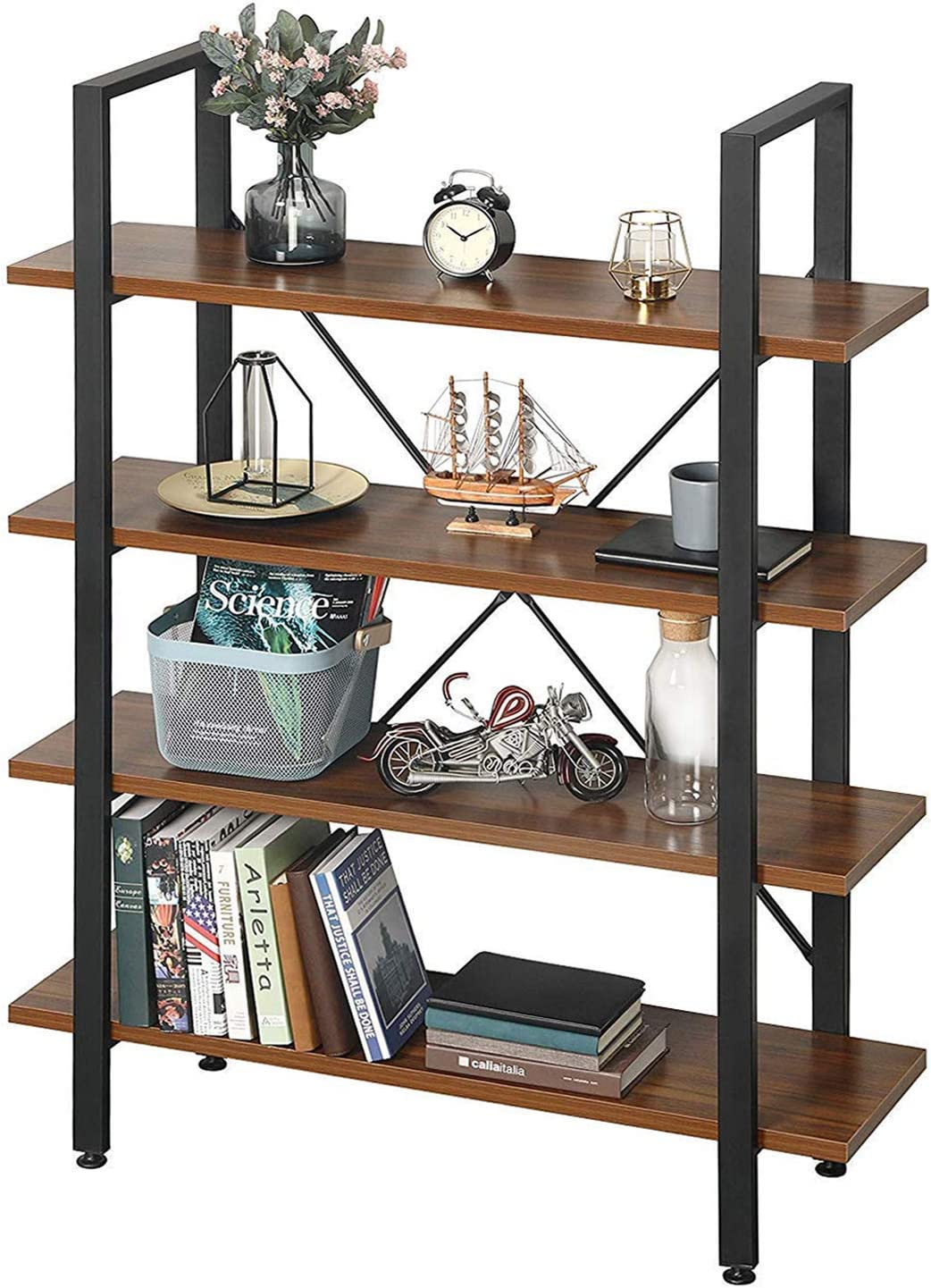 Greenforest Small Bookcase 2 Tiers Storage Shelf Modern Wood Bedroom Bookshelf For Living Room Home Office Walnut Mimbarschool Com Ng