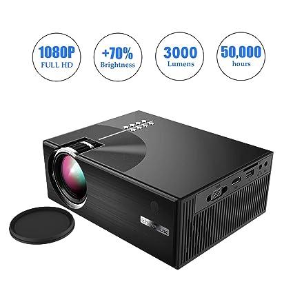 OKEUS Proyector de Video de 3000 lúmenes 1080P proyector LED ...