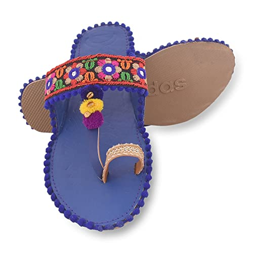 6cde857dfeb Aurain Blue Synthetic Kolhapuri Chappal Slippers for Women  Buy Online at  Low Prices in India - Amazon.in