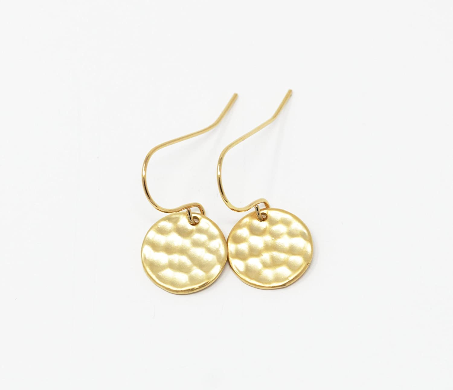 Simple Gold Plated Hammered Disc Drop Earrings
