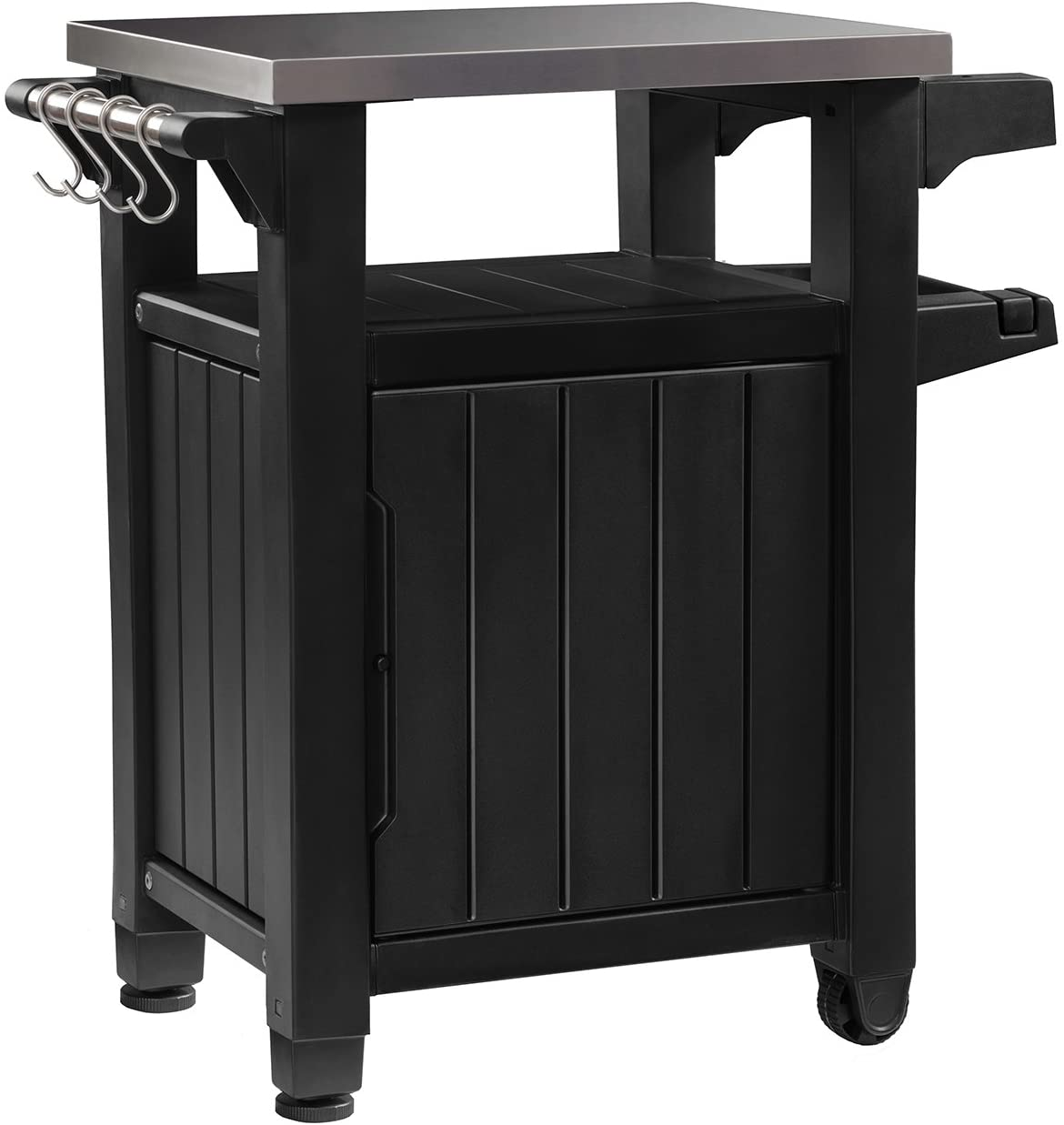 Amazon Com Keter Unity Portable Outdoor Table And Storage Cabinet With Hooks For Grill Accessories Stainless Steel Top For Patio Kitchen Island Or Bar Cart Dark Grey Garden Outdoor