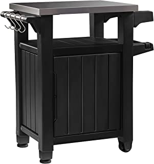 Keter Unity Indoor Outdoor BBQ Entertainment Storage Table/Prep Station with Metal Top Graphite  sc 1 st  Amazon.com & Amazon.com : Outdoor BBQ Prep Table Stainless Steel Top Grill Prep ...
