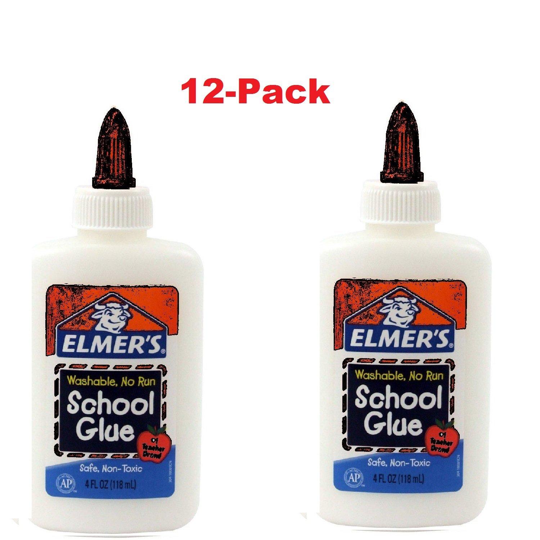 Elmer's Washable No-Run School Glue, White , 4 oz. Bottle 12-Pack,
