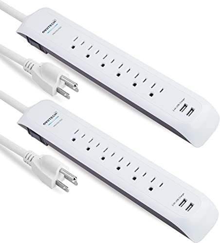 Oviitech USB Surge Protector Power Strip, 6 Multi Outlets with 2 USB Charging Ports, 900J Surge Protector Power Bar,4 Ft Long Extension Cord,ETL Listed,White 2 Pack