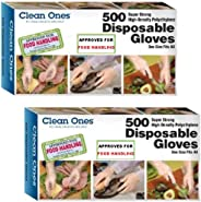 Clean Ones 500 Count Disposable Poly Gloves, Pack of 2, 1000, Clear