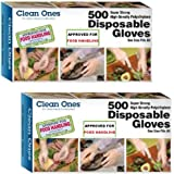 Clean Ones 500 Count Disposable Poly Gloves, Pack of 2 Clear