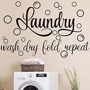 Laundry Room Vinyl Wall Decal Saying Wash Dry Fold Repeat Wall Sticker Bubble Sticker Decals Laundry Art Signs Wall Quote Sticker for Decoration Supplies (19.7 x 30.7 Inch)