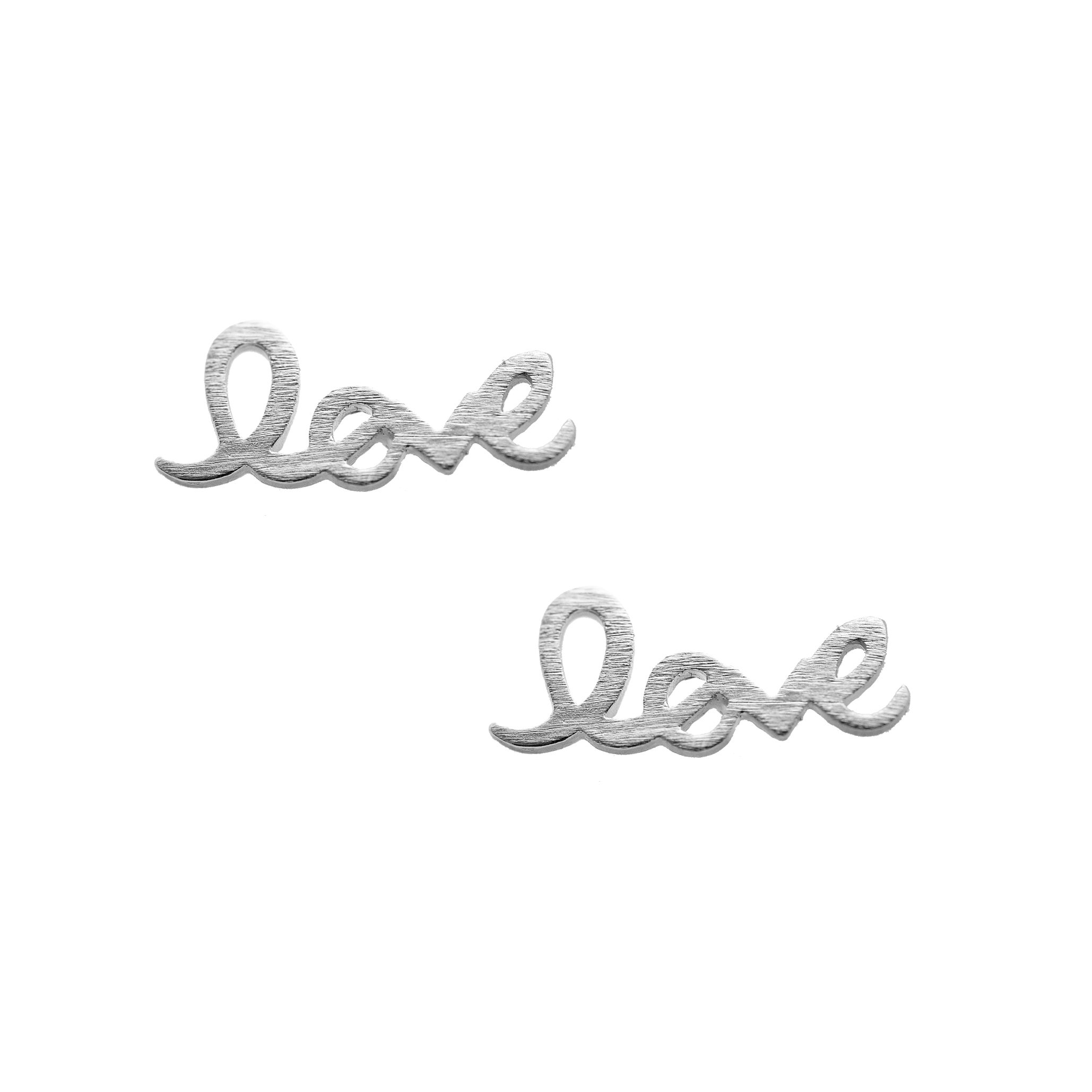 Spinningdaisy Handcrafted Brushed Metal Love Script Stud Earrings Silver