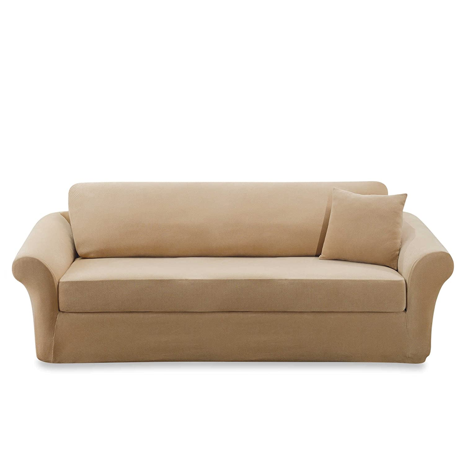 Amazon.com: Sure Fit Stretch Sterling 3-Piece Sofa Slipcover (CREAM ...