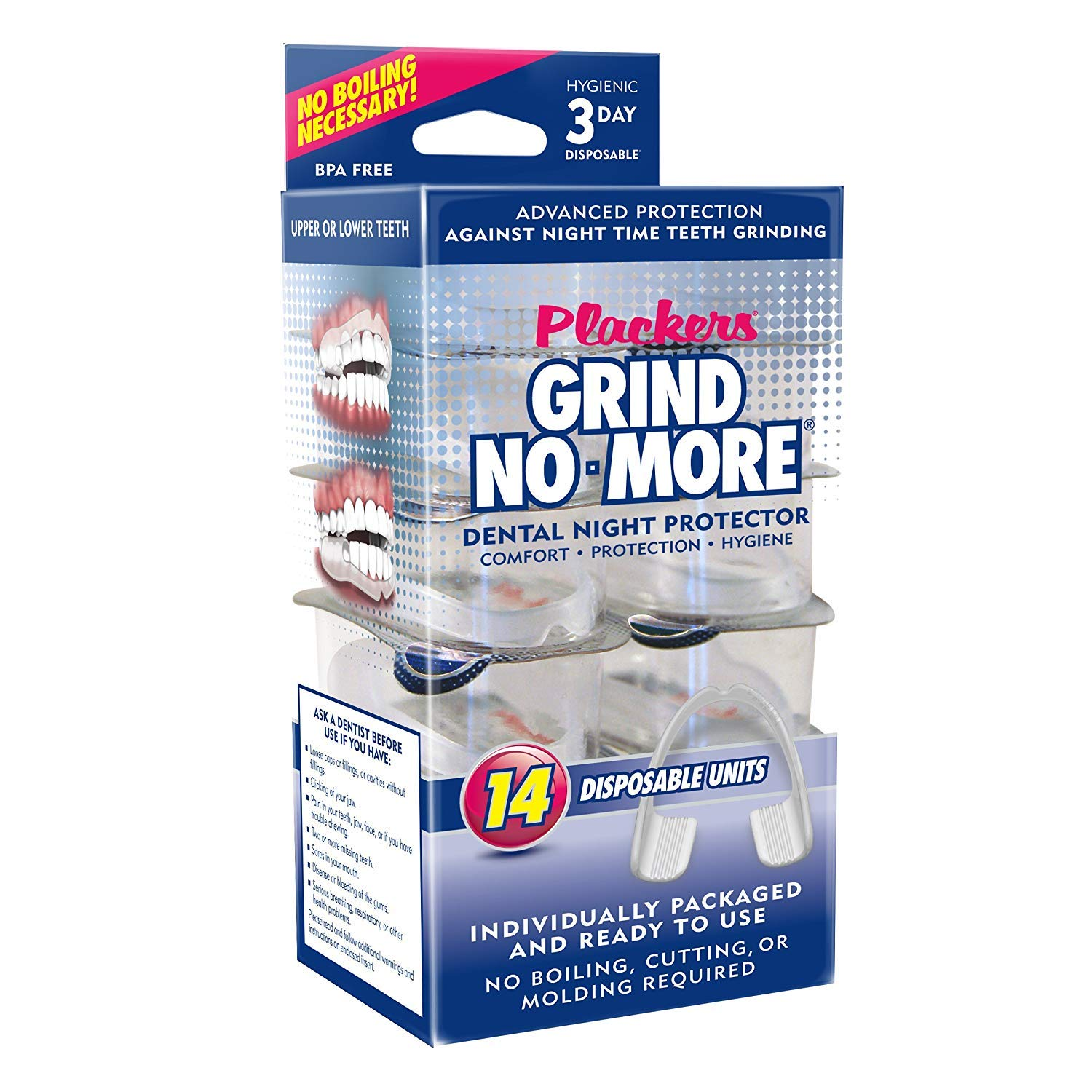 Plackers Grind No More Dental Night Protector, 14 Count 303304518