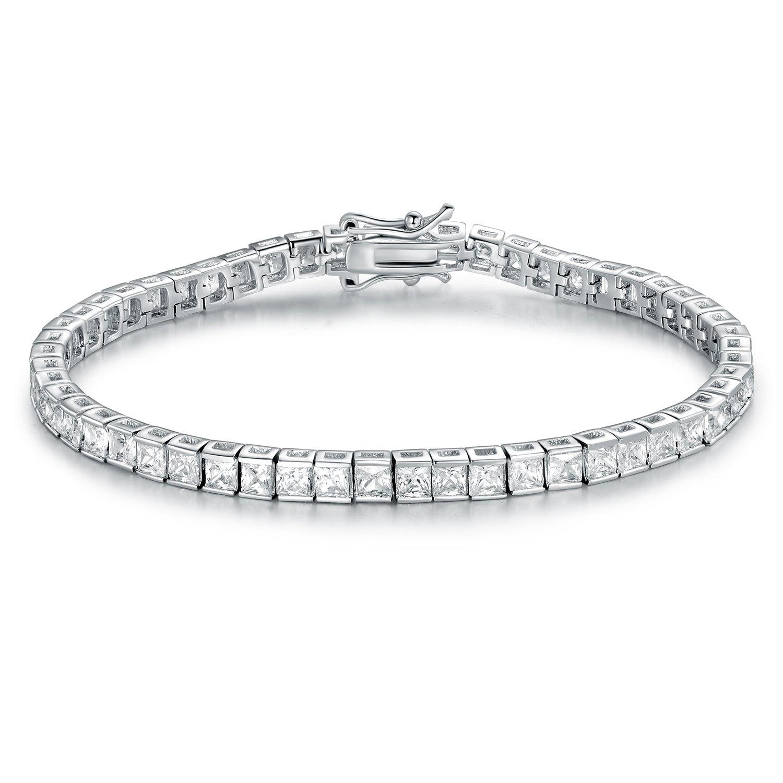 GMESME 18K White Gold Plated Square Princess Cut Cubic Zirconia Classic Tennis Bracelet 7.5 Inch