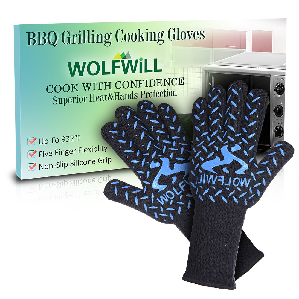 [EN407 Standard] WOLFWILL Cooking Gloves Extreme Heat (withstand up to 500℃/932℉) & Cut Resistant Oven Mitt w/ Super Long Forearm Protective Cuff for Safe Baking Cooking Welding Grilling BBQ