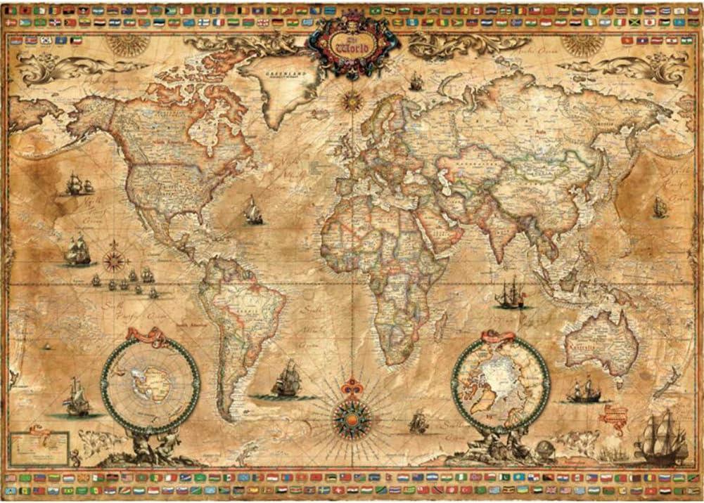 CSYY-YJ Rompecabezas de Madera 500/1000/1500/2000/3000/4000/5000/6000 PC Antigua del Mapa del Mundo del Arte Puzzles, Juguetes educativos Juegos para Adultos y niños