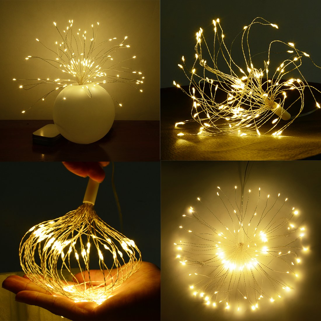 LED String Light,2 Pack Battery Operated Hanging Starburst Light 120 LED Bouquet Shape lights,Fairy Twinkle Light 8 Modes Dimmable with Remote Control,Decoration for Outdoor Home Patio(Warm White) by Elitlife (Image #4)