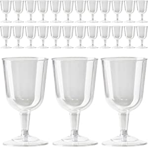 DecorRack 24 Wine Glasses, 6 Oz Plastic Party Wine Cups, Perfect for Outdoor Parties, Weddings, Picnics, Stackable, Reusable, Disposable Stemmed Clear Wine Glasses (Pack of 24)