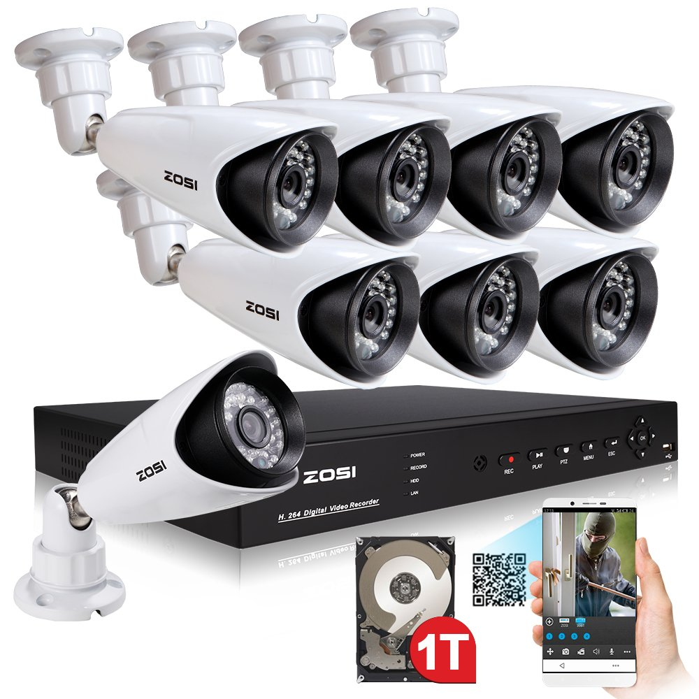 ZOSI Full HD 1080p Security Camera System, 8x 1080p HD Weatherproof Outdoor Surveillance Camera, 8CH 1080P CCTV DVR Recorder and 2TB Hard Drive, 100ft Night Vision, Customizable Motion Detection by ZOSI (Image #2)
