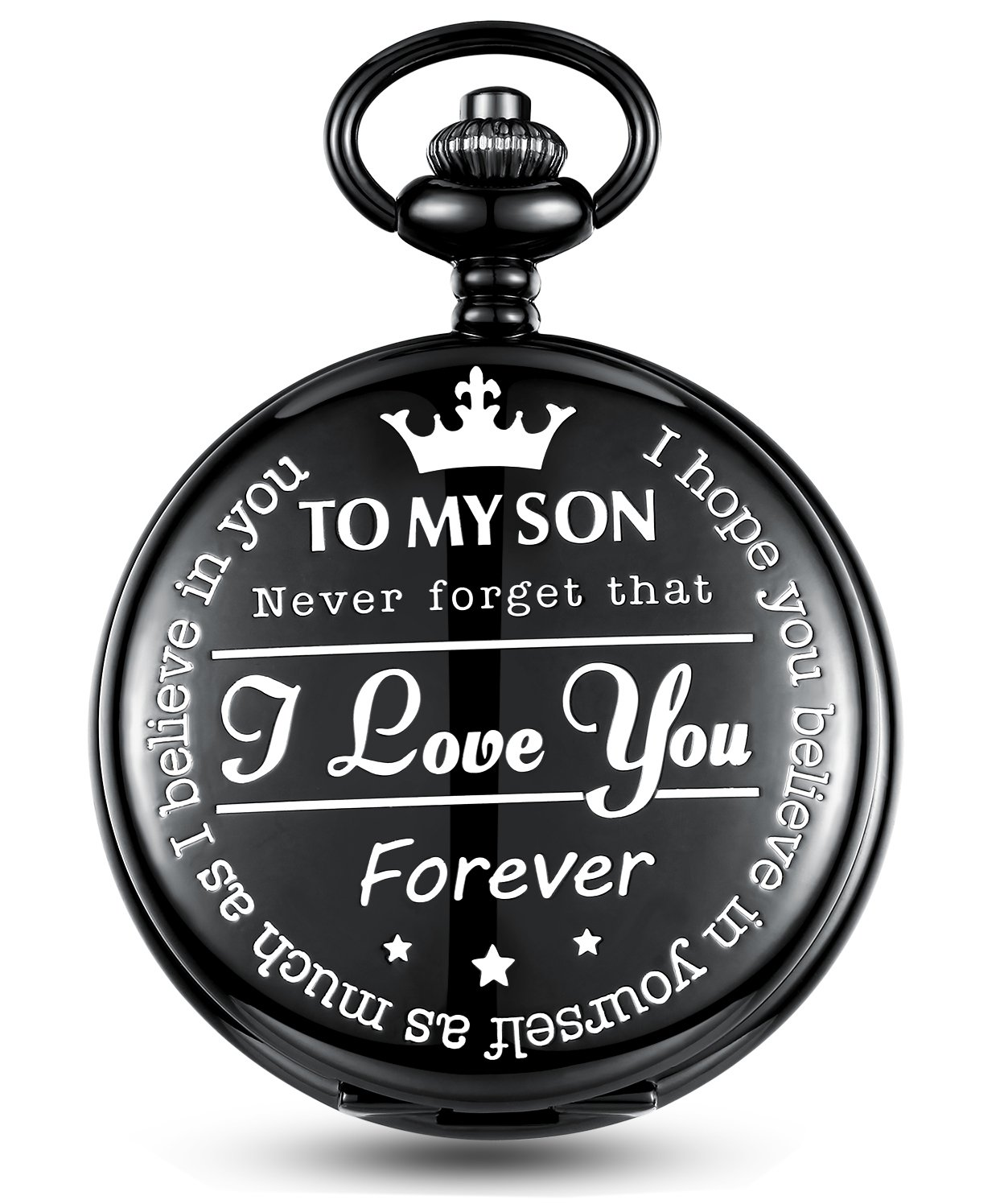 Jechin Men's Funny Engraving Black Stainless Steel Pocket Watch with Gift Box - Souvenir from a Mom to a Son