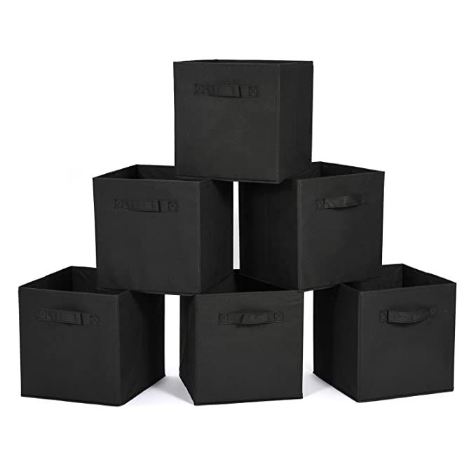 MaidMAX FBA_903007 Cloth Storage Cubes Bins Baskets Containers with Dual Handles for Home Closet Nursery Drawers Organizers, Flodable, Set of 6