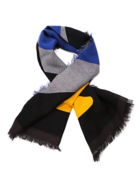87efd6bf52 Fendi Men's FXS2966X7F0RWQ Blue/Grey Silk Scarf: Amazon.co.uk: Clothing