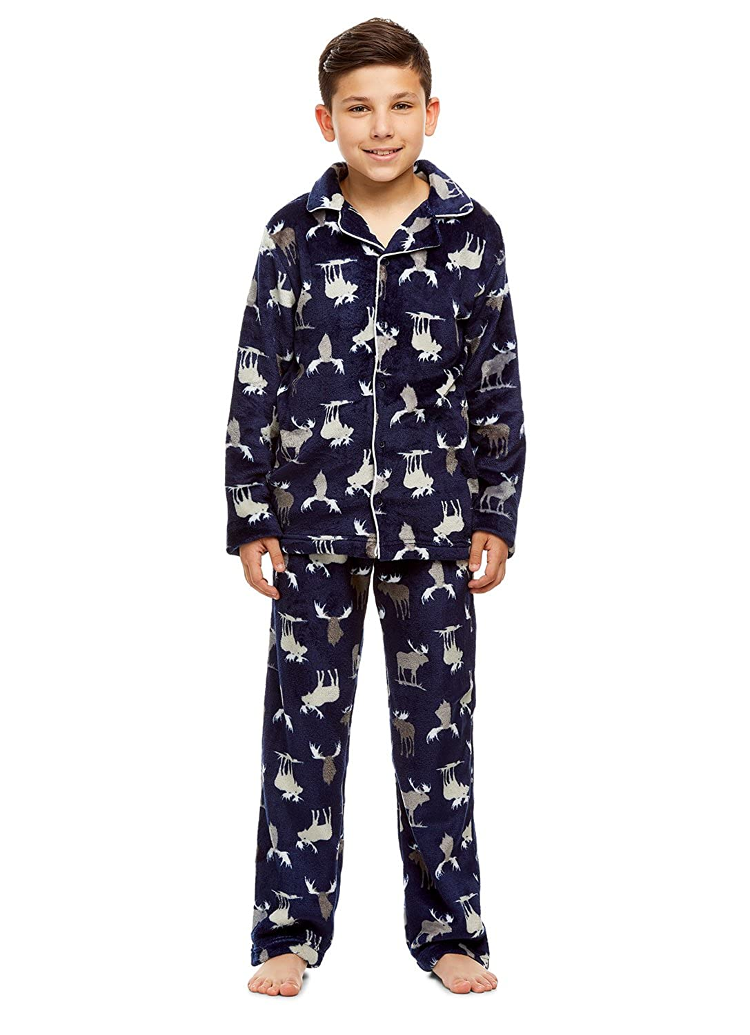 Boys 2 Piece Pajama Set | Long Sleeve Button Down Top PJ Pants
