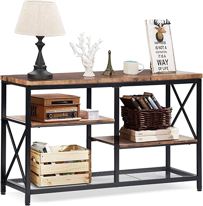 EdMaxwell Rustic Console Table, Industrial Sofa Table for Entryway, Hallway, Living Room, Behind The Couch, 51 Inch Long Table, 3-Tier X Design Narrow Entryway Table with Storage