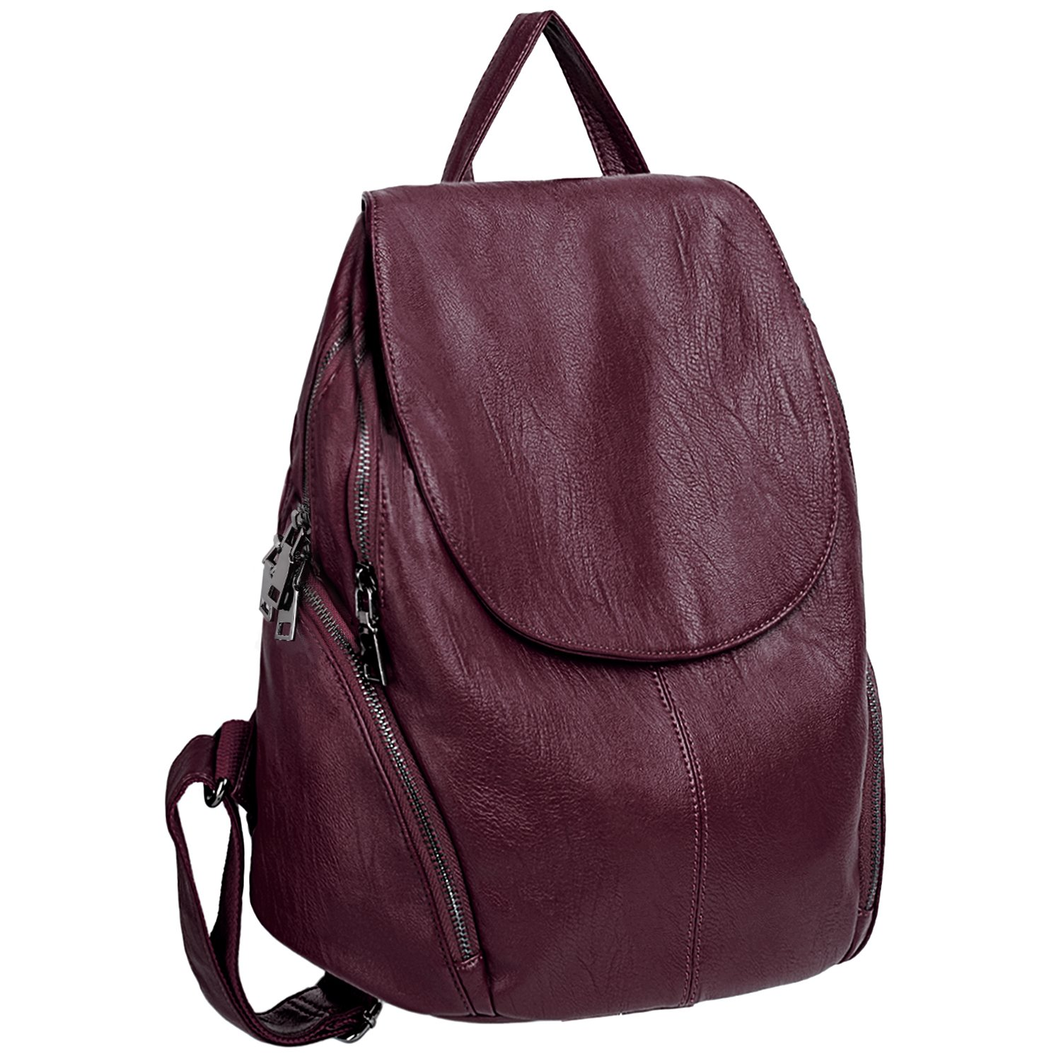 UTO Women Backpack Purse PU Washed Leather Large Capacity Ladies Rucksack Shoulder Bag Red