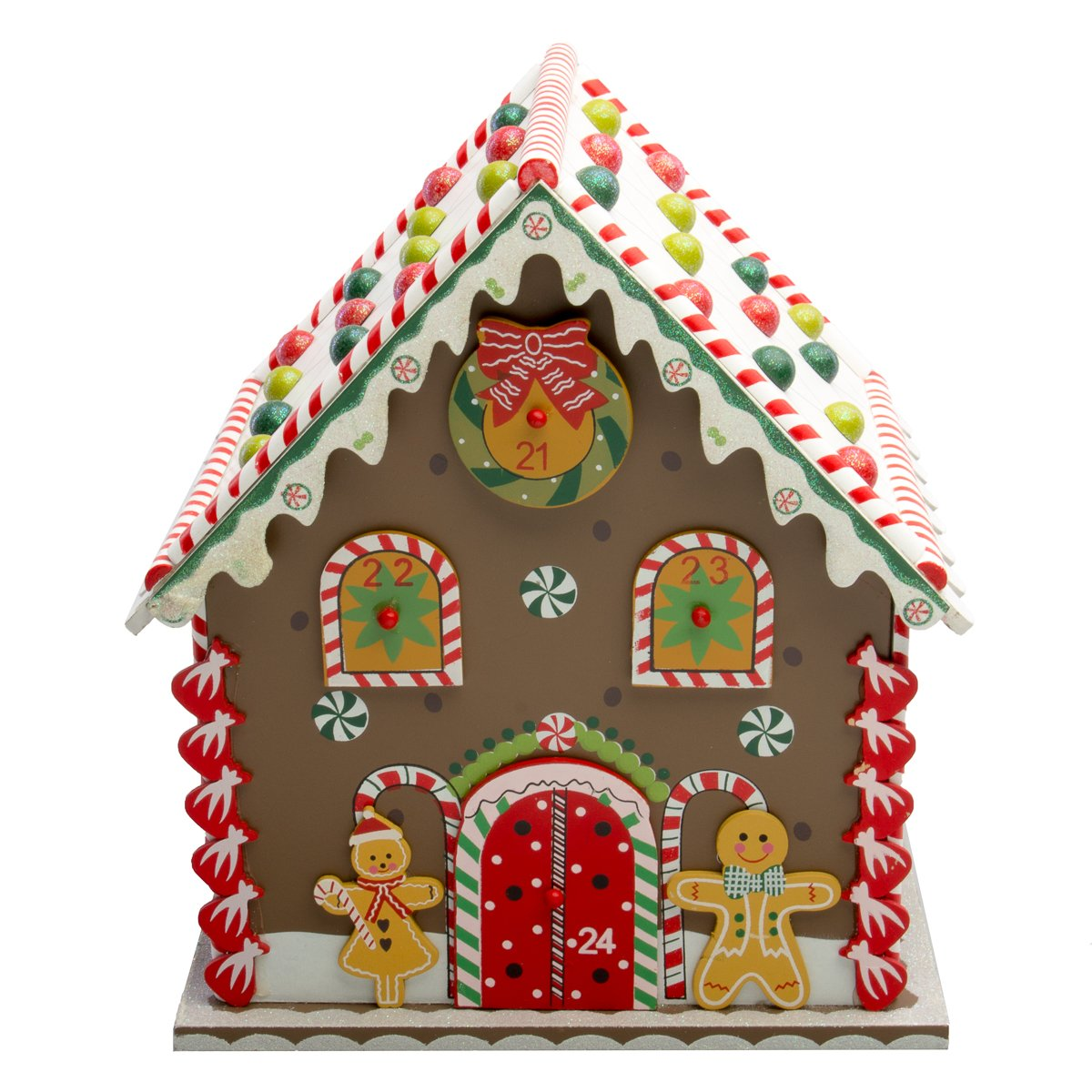 Hot Headz Wood Advent Calendar Drawers Christmas Holiday Gingerbread House Reusable Daily Countdown