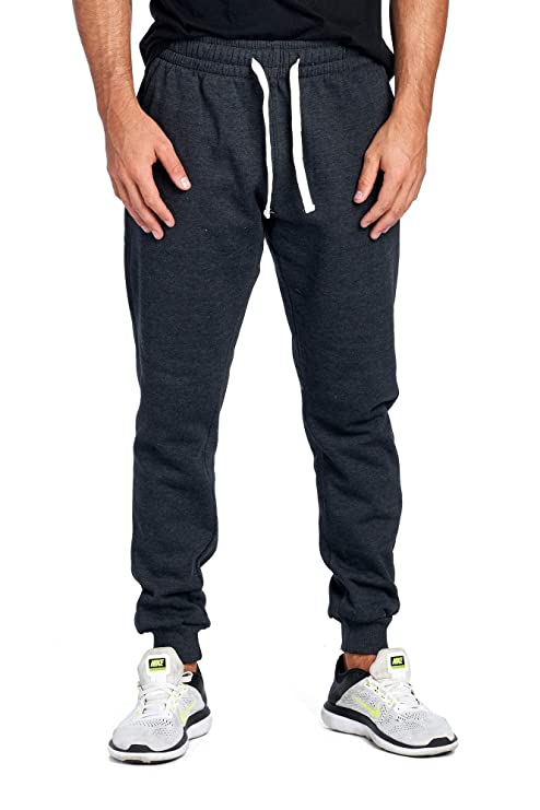 ProGo Men's Joggers Sweatpants Basic Fleece Marled Jogger Pant Elastic Waist (Medium, Charcoal) best men's sweat pants