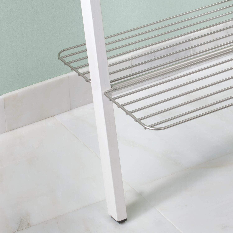 Bamb/ú Blanco InterDesign Toallero Escalera para Almacenamiento de Ba/ño 30.89x49.1x155.97 cm
