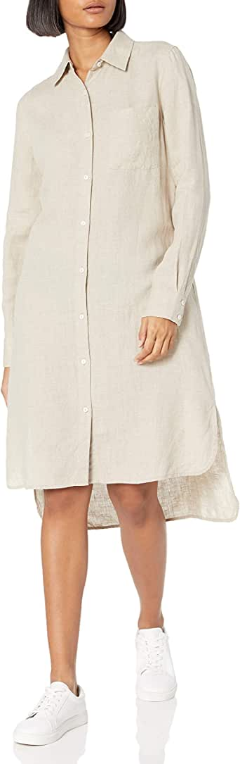 The Drop Women's Celine Long Sleeve Loose-Fit Midi Shirt Dress