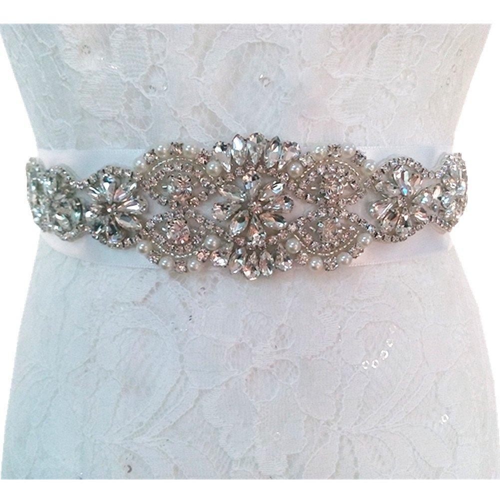 TRLYC Marfil novia Rhinestone Applique Crystal apliques para Boda Sash/Trim black ribbon
