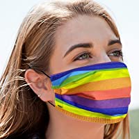 50 PCS Rainbow Disposable Face Masks Safety Soft Breathable Elastic Ear Loop Face Masks for Women and Men Daily Comfy…