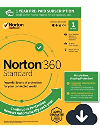 NEW Norton 360 Standard – Antivirus software for 1 Device with Auto Renewal – Includes VPN, PC  Cloud Backup & Dark Web...