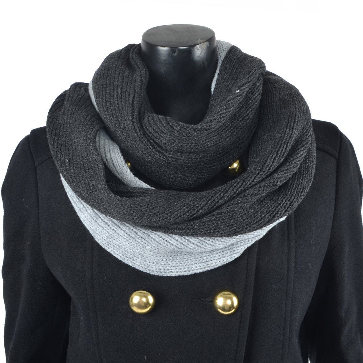 Men's Infinity Scarf Soft Warm Thick Knit Winter Scarves (Black&Grey) JESSE · RENA CF-E5002b-Black