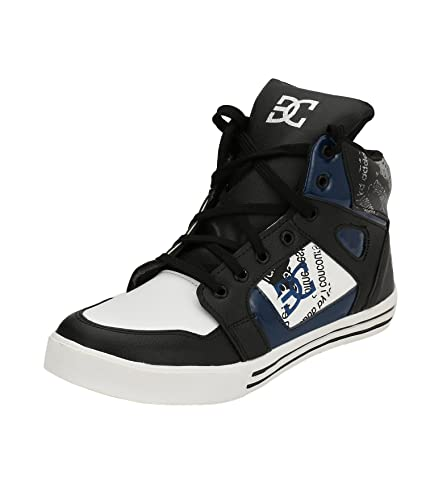 39687e7d77 Server Men/Boy High top Lace-ups Synthetic Leather Casual Sneaker Shoes Blue
