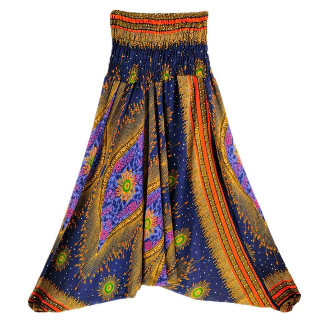VIASA/_Pants Women Bohemian Bandeau Jumpsuit Casual Summer Loose Yoga Trousers Baggy Boho Aladdin Jumpsuit Harem Pants