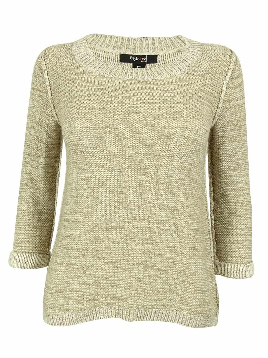 Style & Co. Women's 3/4 Sleeve Marled Knit Sweater (P, Rye Combo)