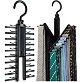 Hugesavings Tie Racks 2 Pcs Cross X Hangers Tie Belt Rack Organizer Hanger Non-Slip Clips Holder with 360 Degree Rotation