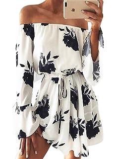 f6e69bf064 Pxmoda Women's Off Shoulder Floral Print Beach Dress Ruffle Mini Dress