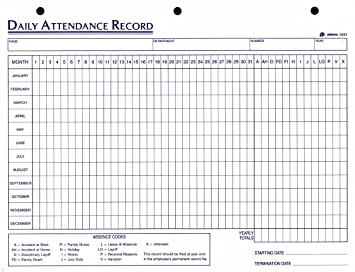 Adams Daily Attendance Record, 8.5 X 11 Inches, 3 Hole Punched, 50  Daily Attendance Sheet Template