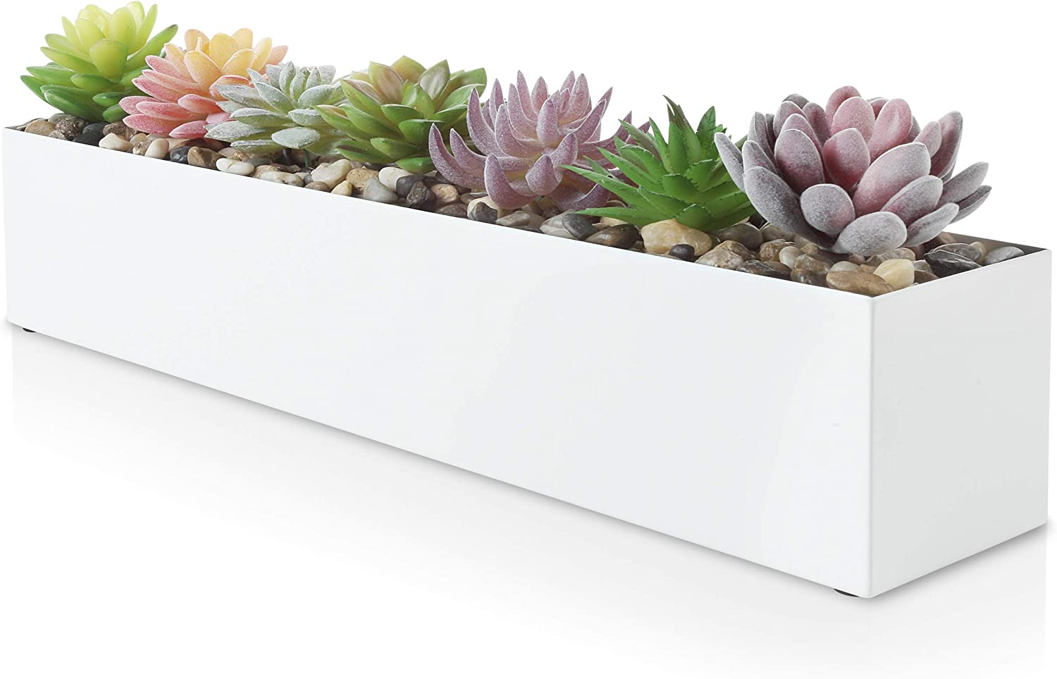 Modern White Rectangle Planter Box 16 Metal Planter Perfect as a Succulent Planter Narrow Planter Box for Table or Window Sill Planters Indoor Rectangular Stainless Steel Long Planter