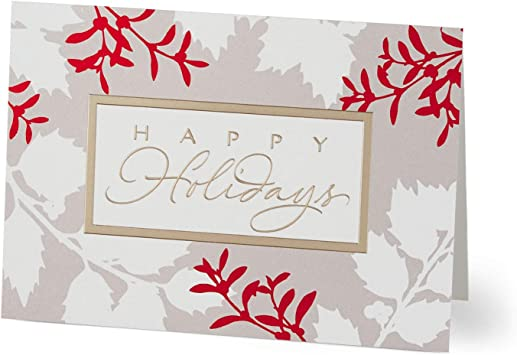 Pack of 25 Greeting Cards Holly Silhouettes Hallmark Business Holiday Card for Employees