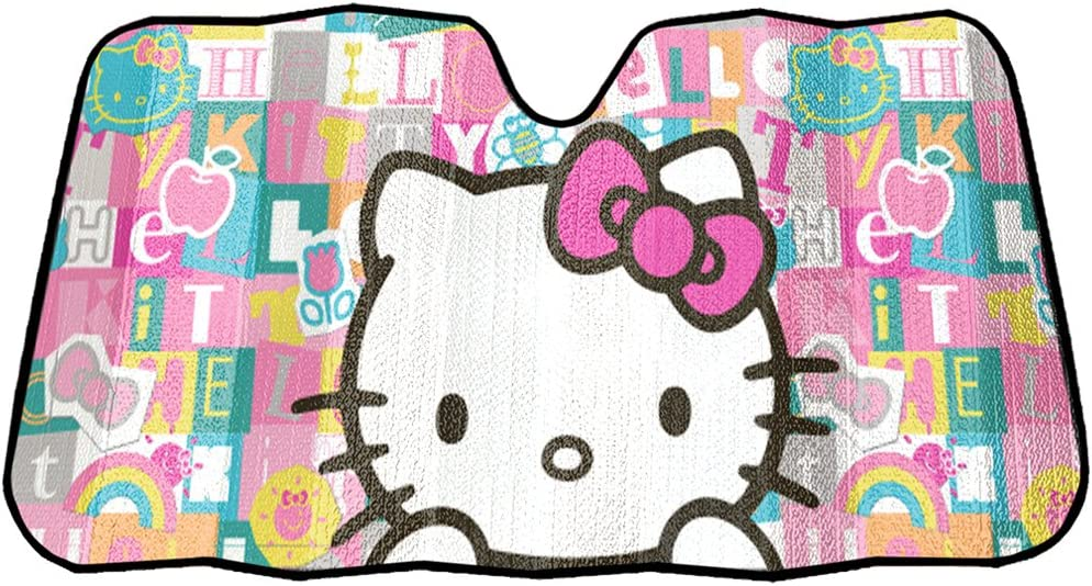 Hello Kitty Sanrio with Pink Bow Tile Auto Car Truck SUV Vehicle Universal-fit Front Windshield Sunshade Accordion Sun Shade