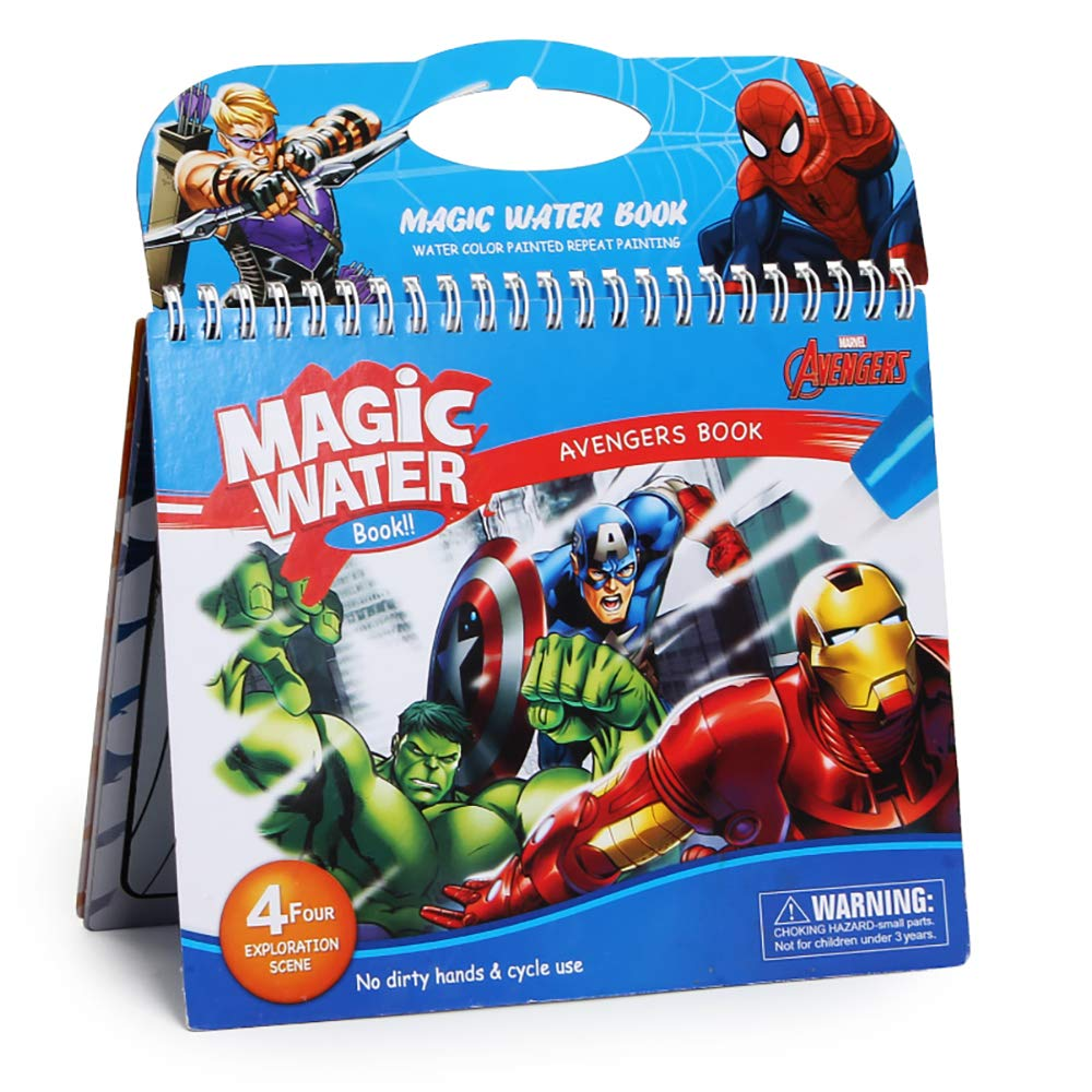 Marscool Waterpainting Books, Water Drawing Book for Kids, Water Draw Doodle Books with Refillable Pen, Both for Home Use and Travel (Super Hero)