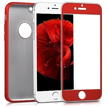 kwmobile Funda para Apple iPhone 7 - Carcasa [Doble] de [TPU] - Case de [ambas Caras] para móvil en [Rojo Oscuro Metalizado]