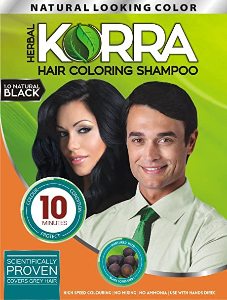Buy Korra Hair Coloring Shampoo (Natural Black, 30 ml) -Pack of 3 ...