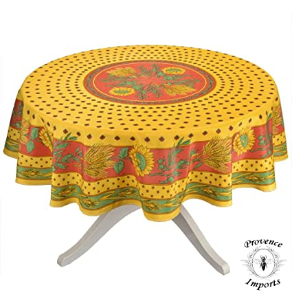 Etonnant Tournesol Red/Yellow French Provencal Tablecloth   Round